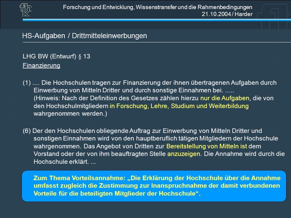 Forschung und Entwicklung, Wissenstransfer und die Rahmenbedingungen 21.10.2004 / Harder HS-Aufgaben / Drittmitteleinwerbungen LHG BW (Entwurf) § 13 F