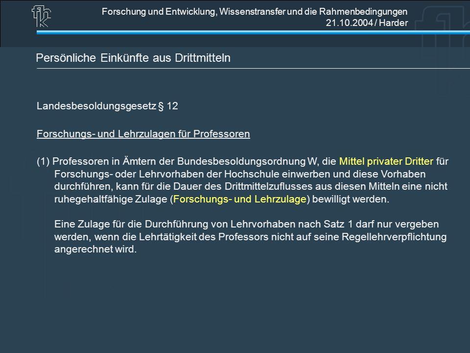 Forschung und Entwicklung, Wissenstransfer und die Rahmenbedingungen 21.10.2004 / Harder Persönliche Einkünfte aus Drittmitteln Landesbesoldungsgesetz