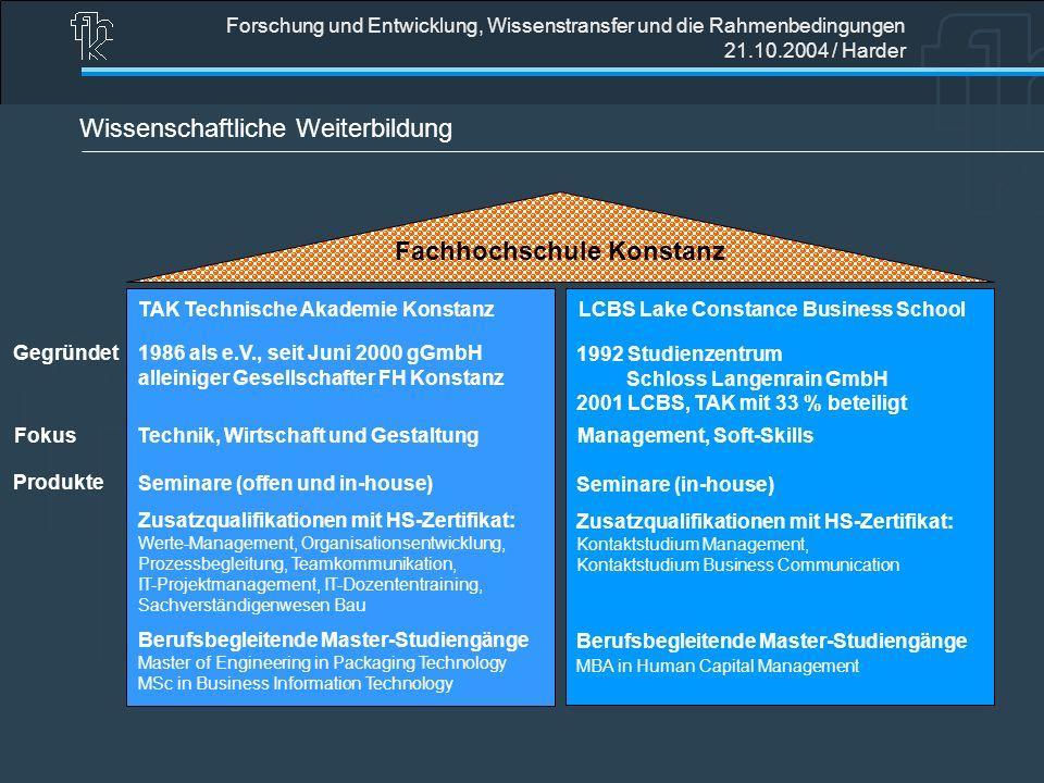 Forschung und Entwicklung, Wissenstransfer und die Rahmenbedingungen 21.10.2004 / Harder Wissenschaftliche Weiterbildung Fachhochschule Konstanz TAK T