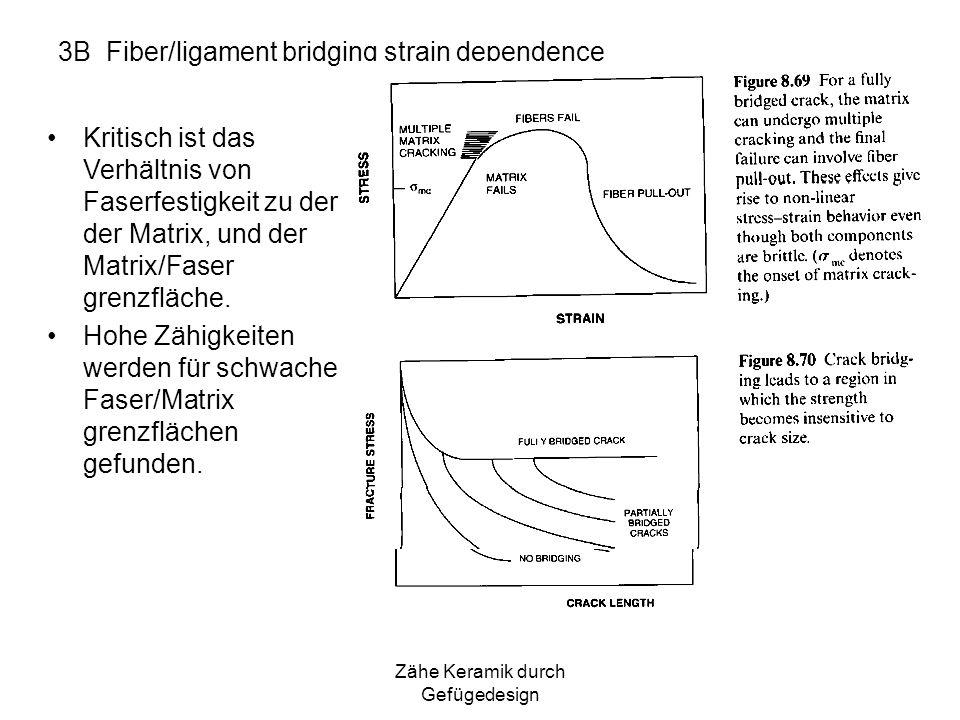 Zähe Keramik durch Gefügedesign 3B Fiber/ligament bridging strain dependence Kritisch ist das Verhältnis von Faserfestigkeit zu der der Matrix, und de