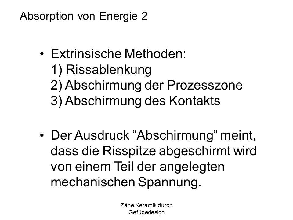 Zähe Keramik durch Gefügedesign Absorption von Energie 2 Extrinsische Methoden: 1) Rissablenkung 2) Abschirmung der Prozesszone 3) Abschirmung des Kon