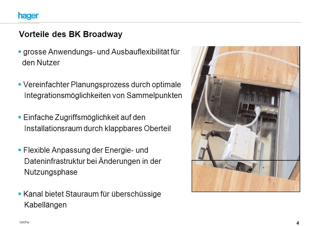 4 MK/Fei grosse Anwendungs- und Ausbauflexibilität für den Nutzer Vereinfachter Planungsprozess durch optimale Integrationsmöglichkeiten von Sammelpunkten Einfache Zugriffsmöglichkeit auf den Installationsraum durch klappbares Oberteil Flexible Anpassung der Energie- und Dateninfrastruktur bei Änderungen in der Nutzungsphase Kanal bietet Stauraum für überschüssige Kabellängen Vorteile des BK Broadway