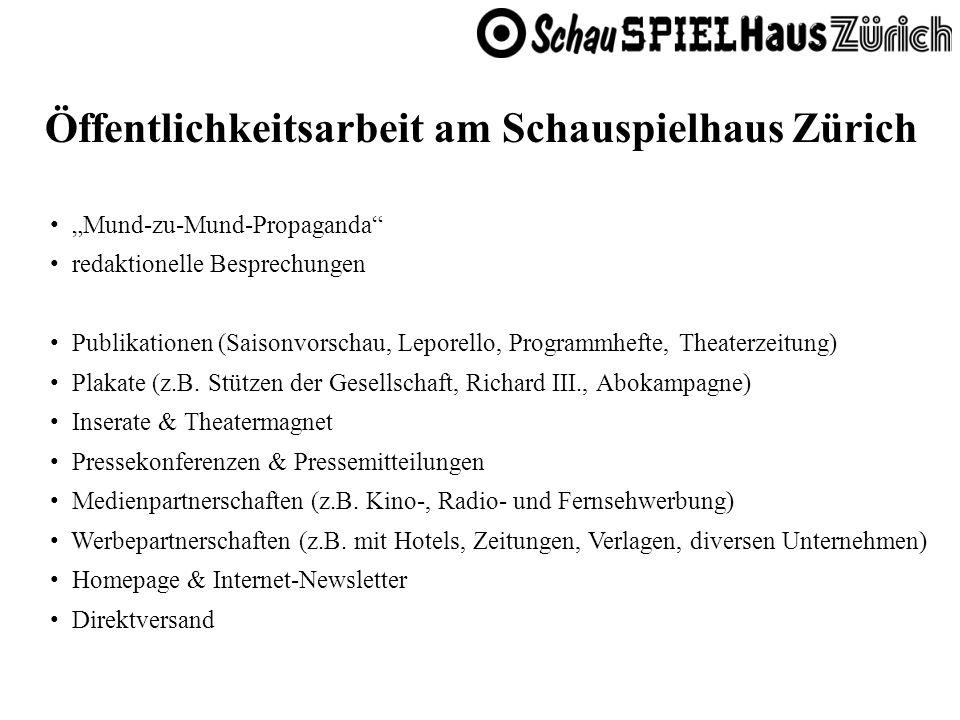 Öffentlichkeitsarbeit am Schauspielhaus Zürich Mund-zu-Mund-Propaganda redaktionelle Besprechungen Publikationen (Saisonvorschau, Leporello, Programmh