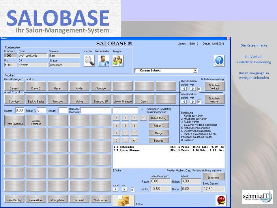 Das Kassenbuch Berechnung aller Umsatzzahlen wie Bar, EC und Gesamtumsatz auf Knopfdruck.
