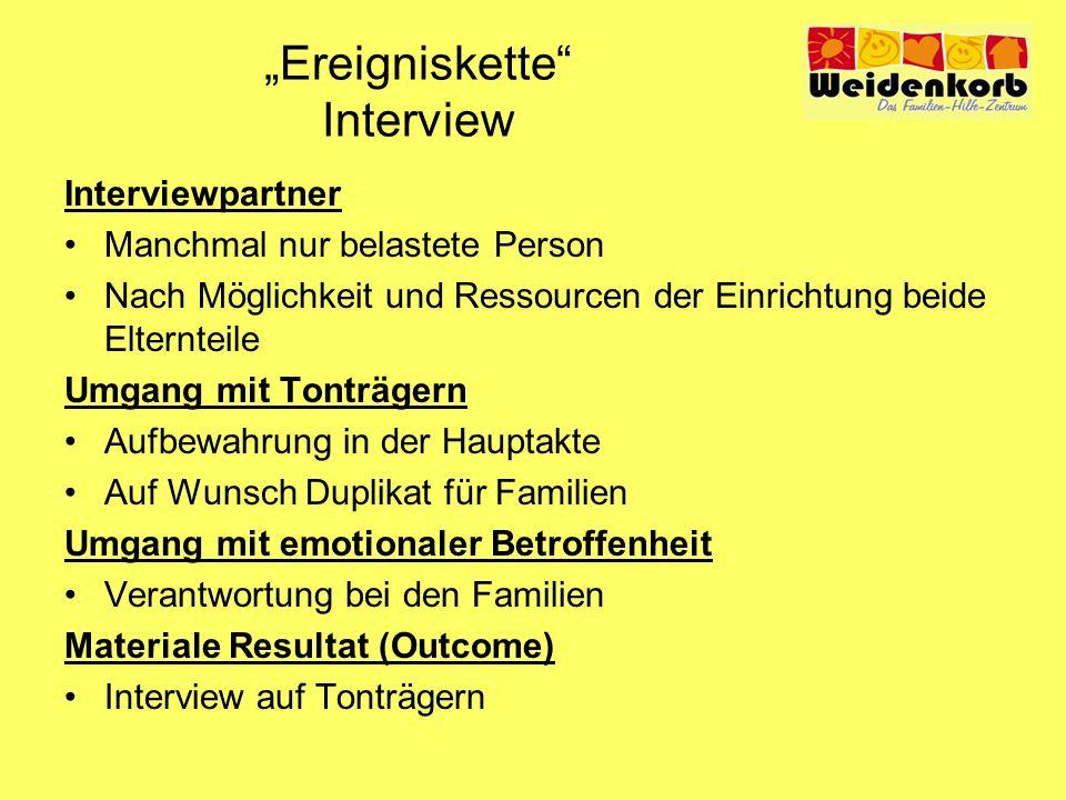 Ereigniskette Interview Interviewpartner Manchmal nur belastete Person Nach Möglichkeit und Ressourcen der Einrichtung beide Elternteile Umgang mit To