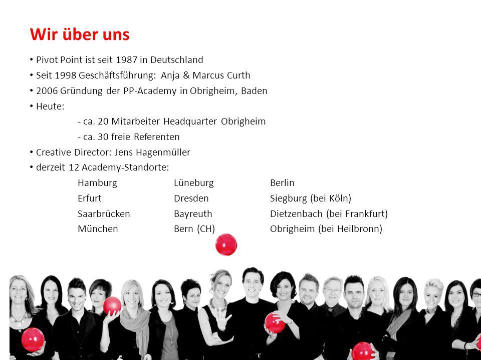 Wir über uns Pivot Point ist seit 1987 in Deutschland Seit 1998 Geschäftsführung: Anja & Marcus Curth 2006 Gründung der PP-Academy in Obrigheim, Baden Heute: - ca.