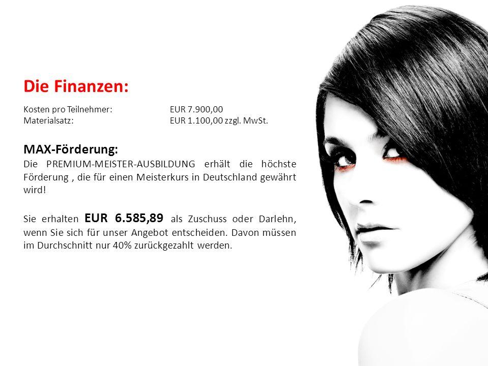 Die Finanzen: Kosten pro Teilnehmer: EUR 7.900,00 Materialsatz: EUR 1.100,00 zzgl.