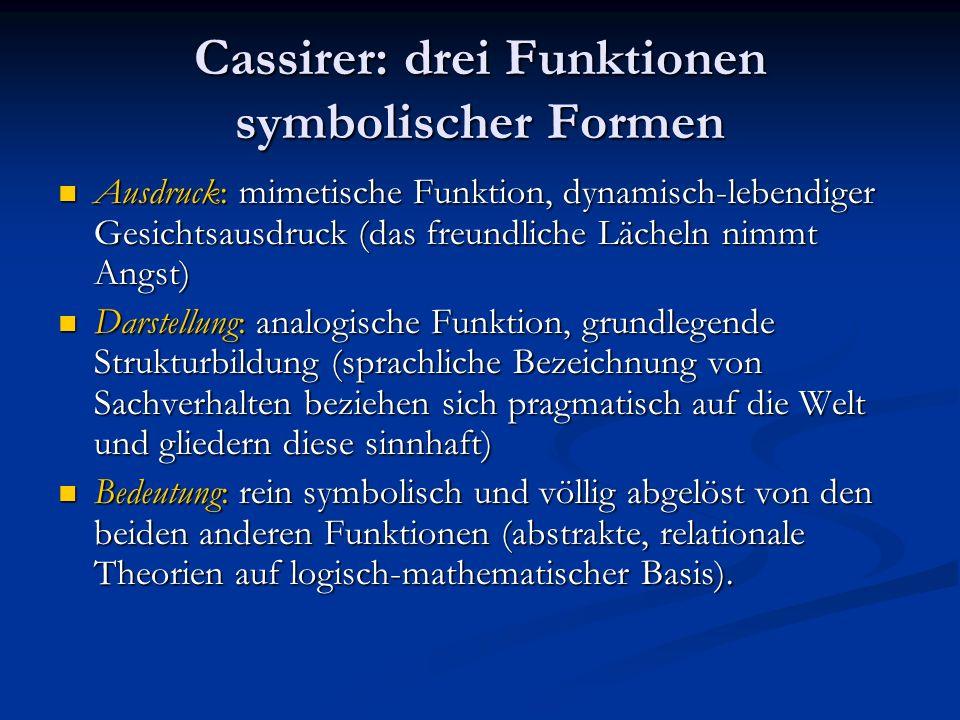 Cassirer: drei Funktionen symbolischer Formen Ausdruck: mimetische Funktion, dynamisch-lebendiger Gesichtsausdruck (das freundliche Lächeln nimmt Angs