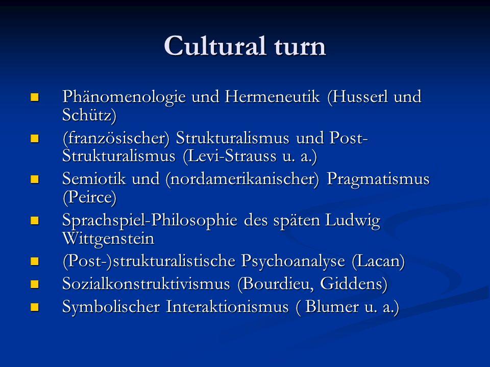 Cultural turn Phänomenologie und Hermeneutik (Husserl und Schütz) Phänomenologie und Hermeneutik (Husserl und Schütz) (französischer) Strukturalismus