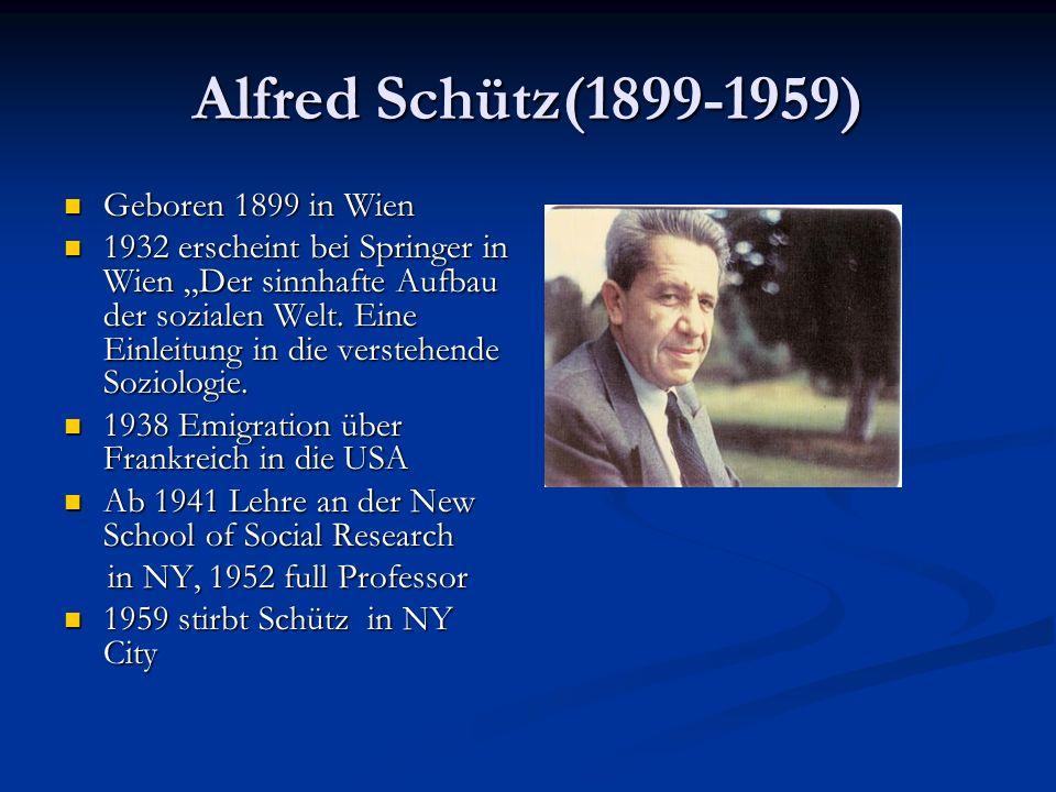 Alfred Schütz(1899-1959) Geboren 1899 in Wien Geboren 1899 in Wien 1932 erscheint bei Springer in Wien Der sinnhafte Aufbau der sozialen Welt. Eine Ei