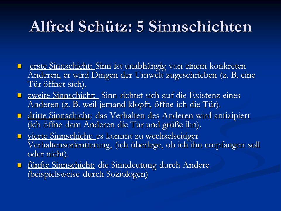 Alfred Schütz: 5 Sinnschichten erste Sinnschicht: Sinn ist unabhängig von einem konkreten Anderen, er wird Dingen der Umwelt zugeschrieben (z. B. eine