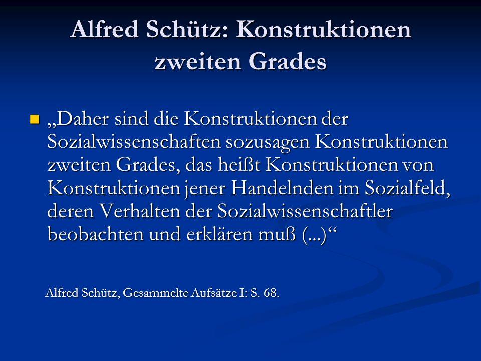 Alfred Schütz: Konstruktionen zweiten Grades Daher sind die Konstruktionen der Sozialwissenschaften sozusagen Konstruktionen zweiten Grades, das heißt