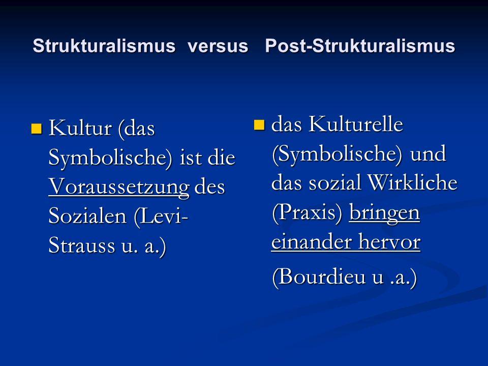 Strukturalismus versus Post-Strukturalismus Kultur (das Symbolische) ist die Voraussetzung des Sozialen (Levi- Strauss u. a.) Kultur (das Symbolische)