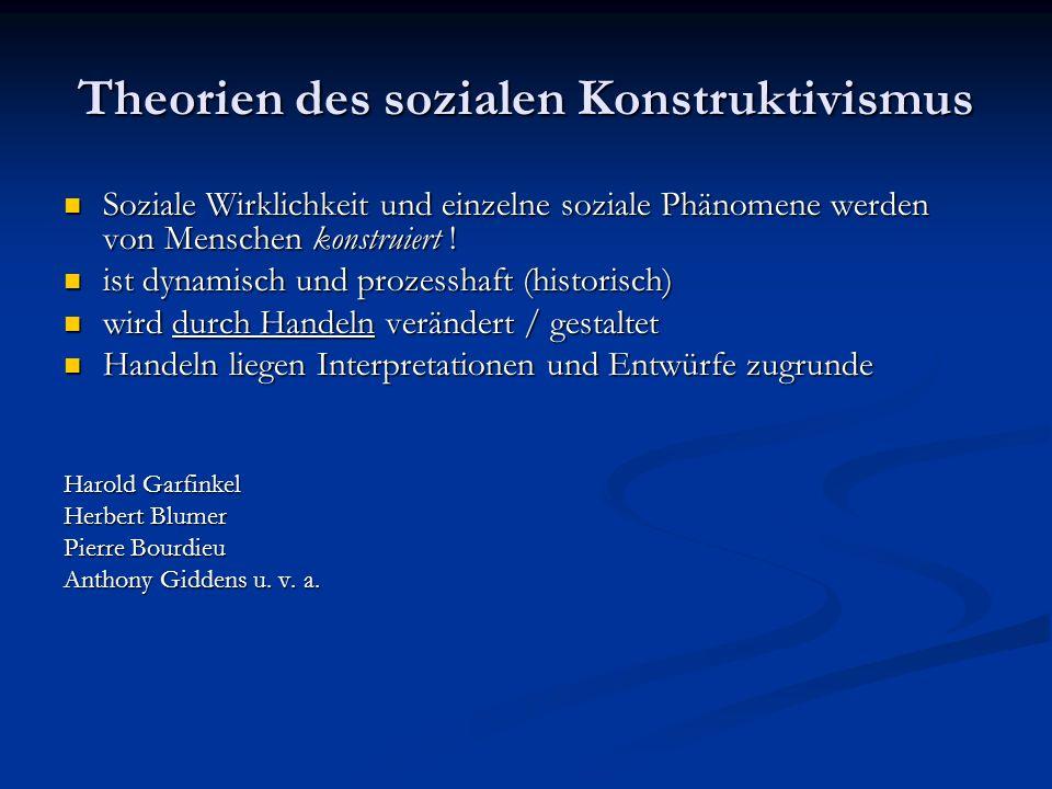 Theorien des sozialen Konstruktivismus Soziale Wirklichkeit und einzelne soziale Phänomene werden von Menschen konstruiert ! Soziale Wirklichkeit und