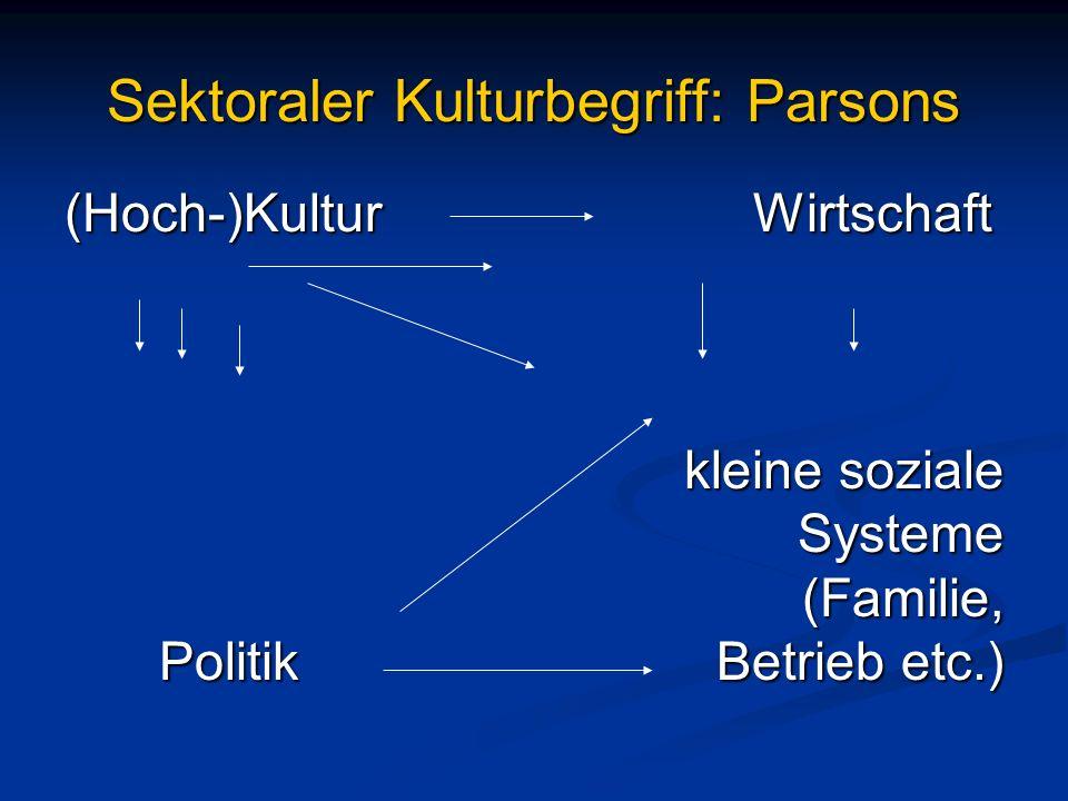 Sektoraler Kulturbegriff: Parsons (Hoch-)Kultur Wirtschaft kleine soziale kleine soziale Systeme Systeme (Familie, (Familie, Politik Betrieb etc.)