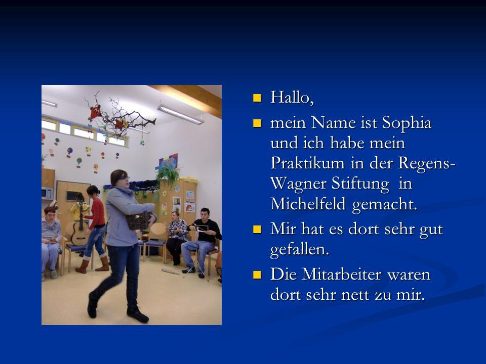 Hallo, mein Name ist Sophia und ich habe mein Praktikum in der Regens- Wagner Stiftung in Michelfeld gemacht. Mir hat es dort sehr gut gefallen. Die M