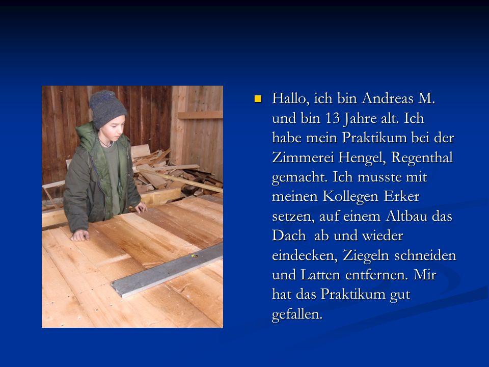 Hallo, ich bin Andreas M. und bin 13 Jahre alt. Ich habe mein Praktikum bei der Zimmerei Hengel, Regenthal gemacht. Ich musste mit meinen Kollegen Erk