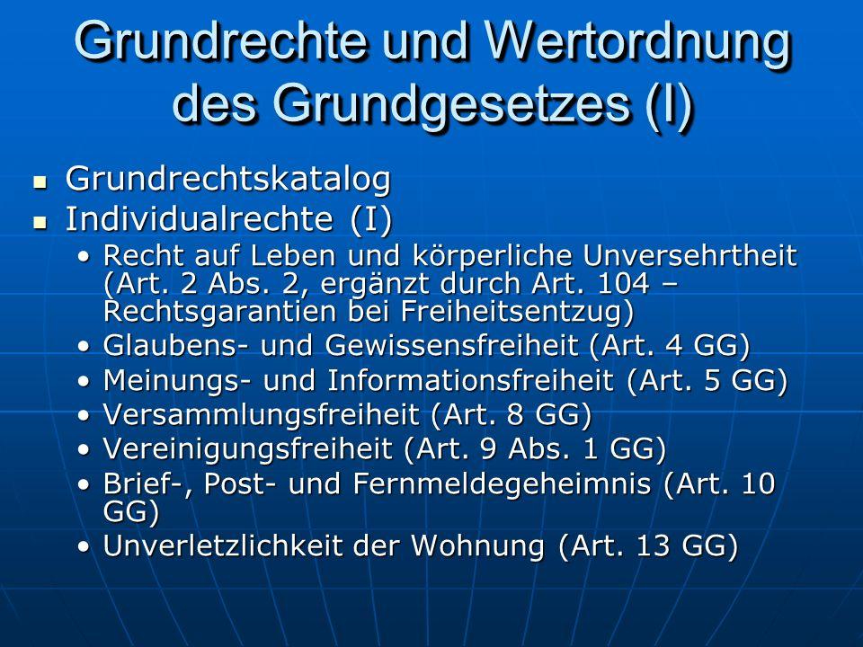 Grundrechte und Wertordnung des Grundgesetzes (I) Grundrechtskatalog Grundrechtskatalog Individualrechte (I) Individualrechte (I) Recht auf Leben und körperliche Unversehrtheit (Art.