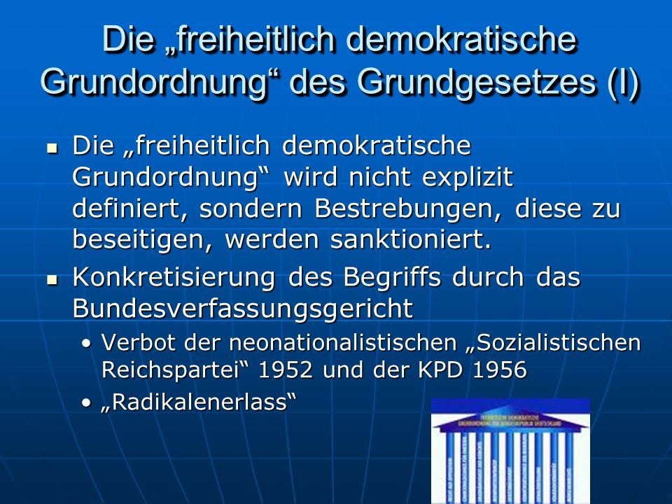 Die freiheitlich demokratische Grundordnung des Grundgesetzes (I) Die freiheitlich demokratische Grundordnung wird nicht explizit definiert, sondern Bestrebungen, diese zu beseitigen, werden sanktioniert.