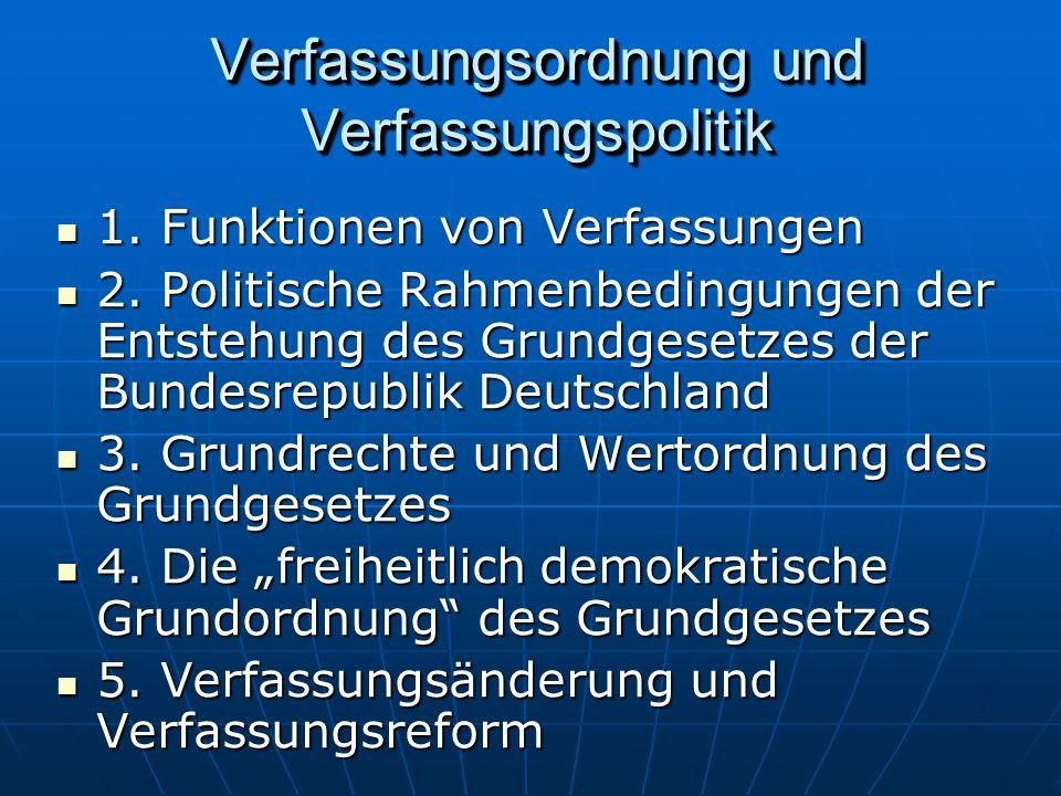 Verfassungsordnung und Verfassungspolitik 1.Funktionen von Verfassungen 1.