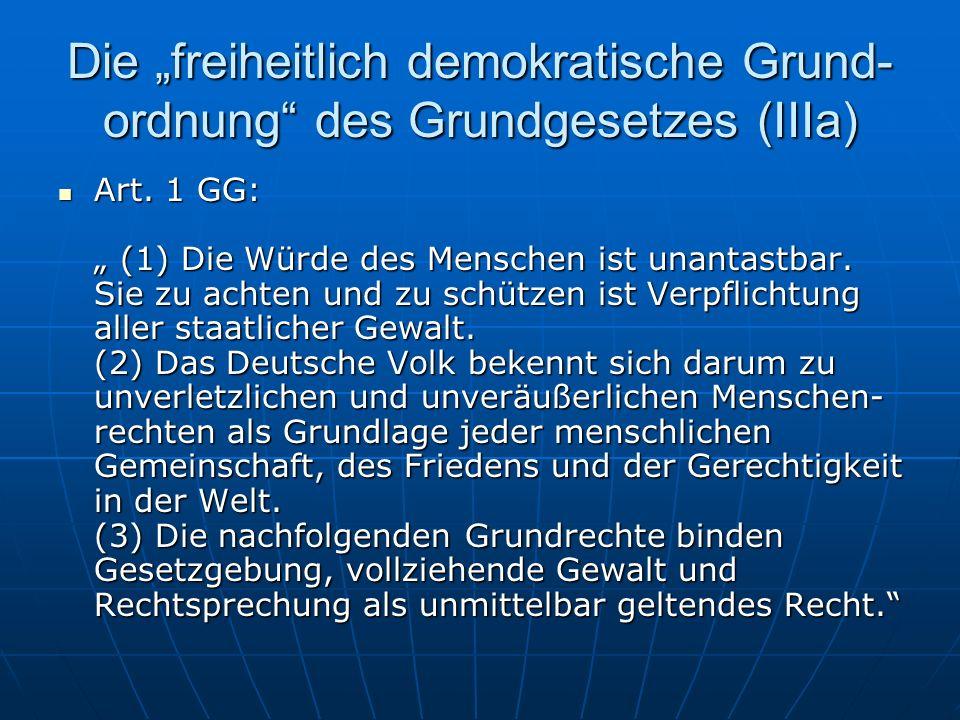 Die freiheitlich demokratische Grund- ordnung des Grundgesetzes (IIIa) Art.