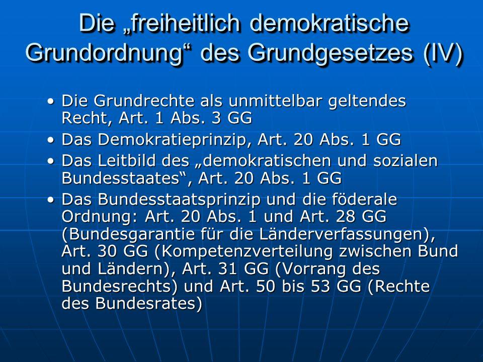 Die freiheitlich demokratische Grundordnung des Grundgesetzes (IV) Die Grundrechte als unmittelbar geltendes Recht, Art.