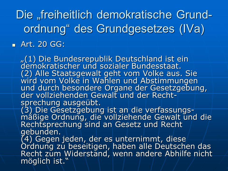 Die freiheitlich demokratische Grund- ordnung des Grundgesetzes (IVa) Art.