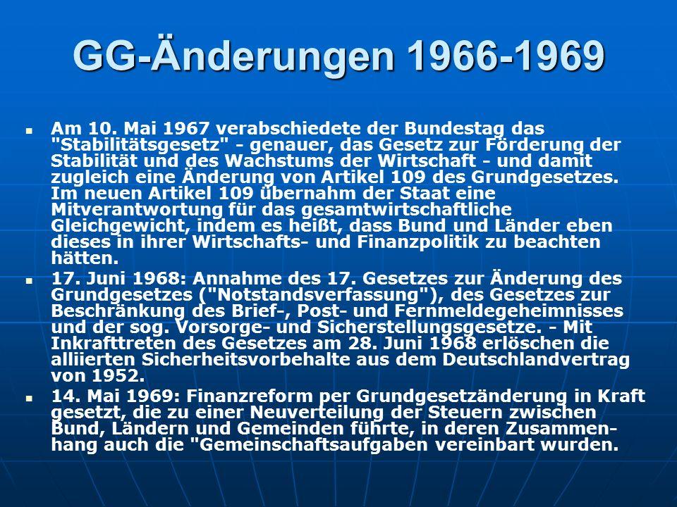 GG-Änderungen 1966-1969 Am 10.