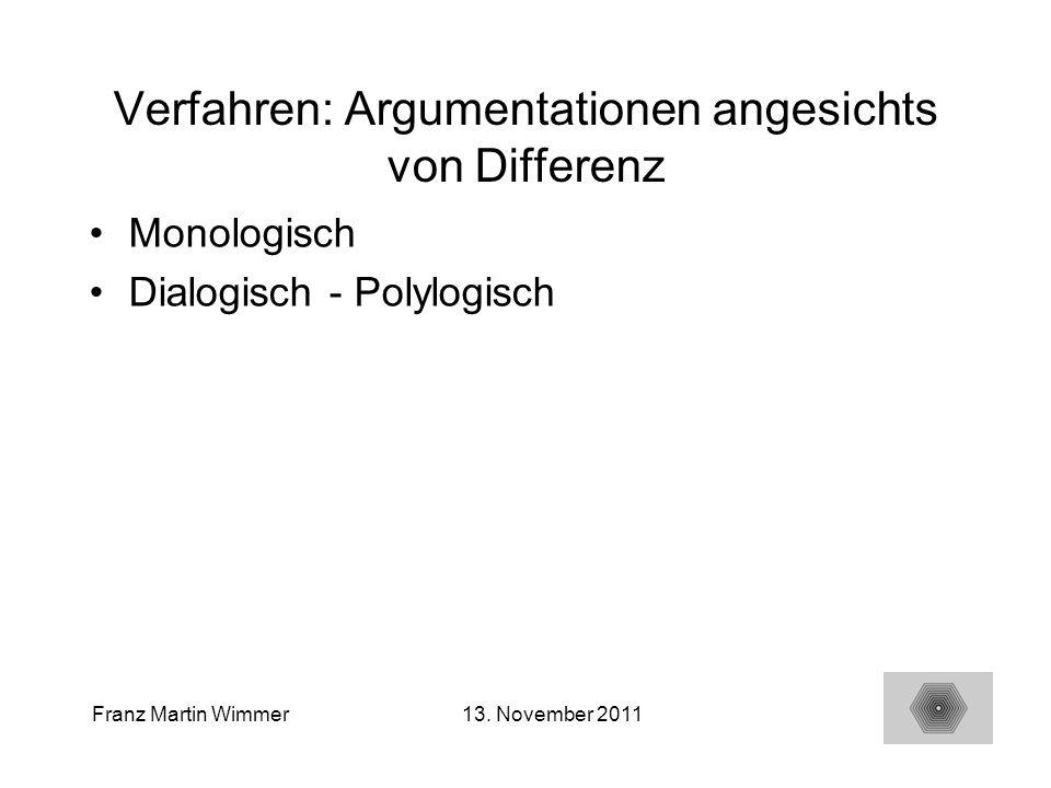 15 Franz Martin Wimmer13. November 2011 Verfahren: Argumentationen angesichts von Differenz Monologisch Dialogisch - Polylogisch