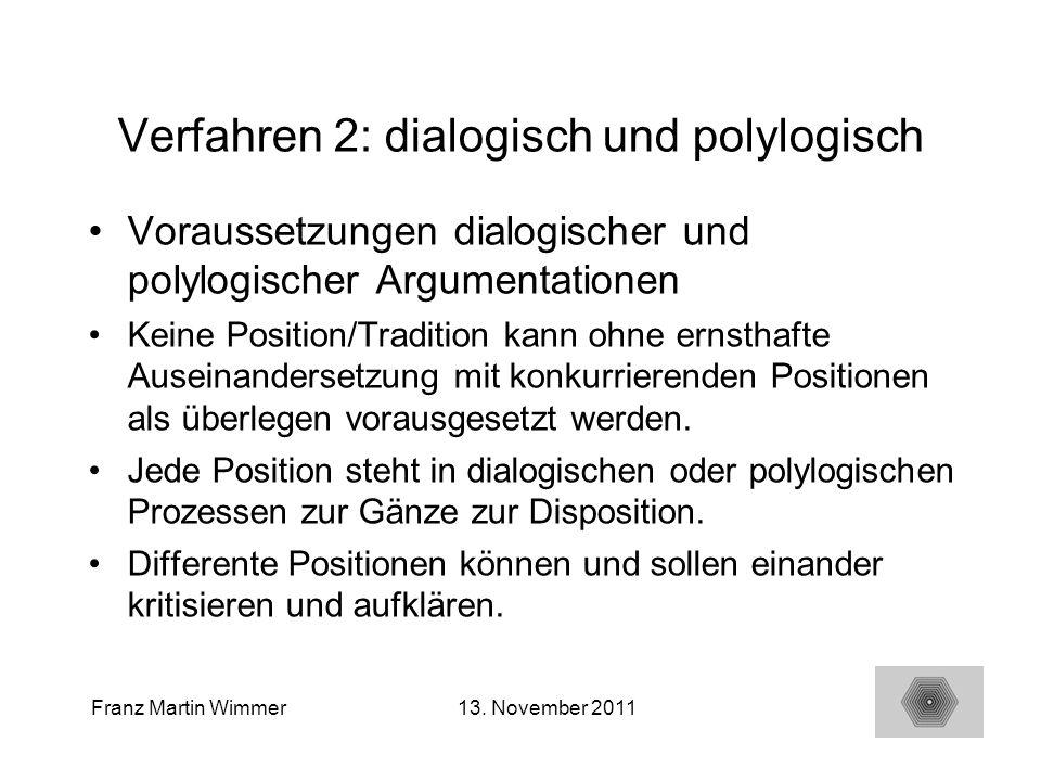 18 Franz Martin Wimmer13. November 2011 Verfahren 2: dialogisch und polylogisch Voraussetzungen dialogischer und polylogischer Argumentationen Keine P