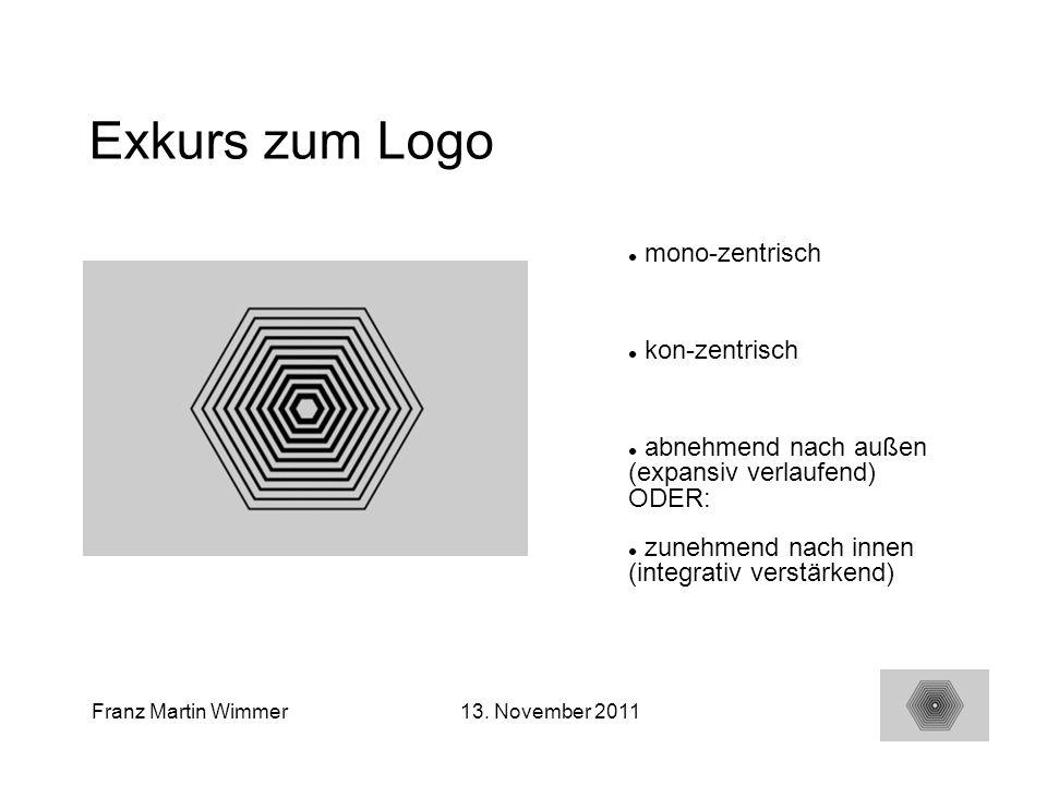 23 Franz Martin Wimmer13. November 2011 Exkurs zum Logo mono-zentrisch kon-zentrisch abnehmend nach außen (expansiv verlaufend) ODER: zunehmend nach i