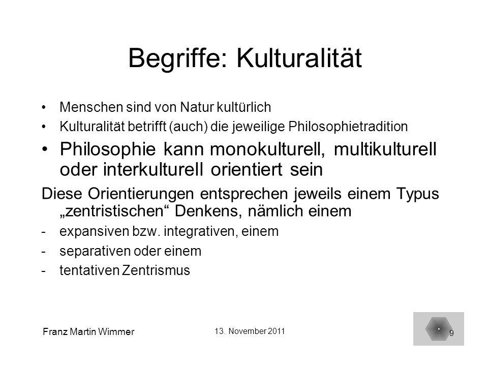 Franz Martin Wimmer 13. November 2011 9 Begriffe: Kulturalität Menschen sind von Natur kultürlich Kulturalität betrifft (auch) die jeweilige Philosoph