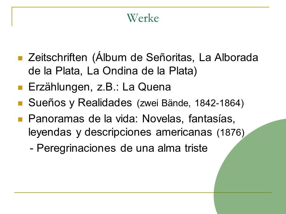 Werke Zeitschriften (Álbum de Señoritas, La Alborada de la Plata, La Ondina de la Plata) Erzählungen, z.B.: La Quena Sueños y Realidades (zwei Bände,