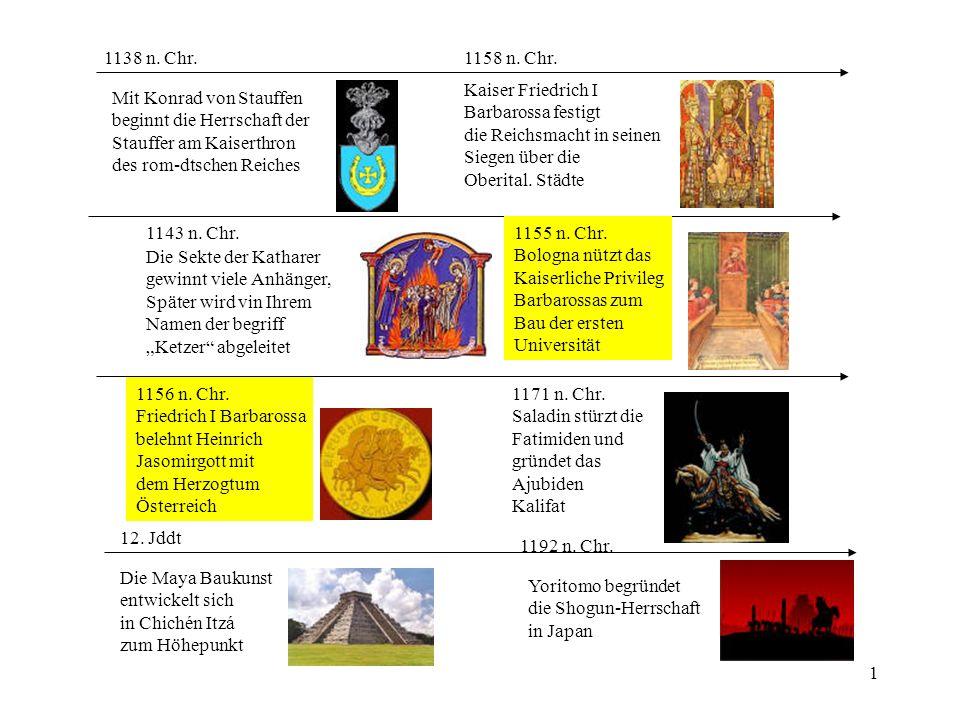 1 12. Jddt Die Maya Baukunst entwickelt sich in Chichén Itzá zum Höhepunkt 1143 n. Chr. Die Sekte der Katharer gewinnt viele Anhänger, Später wird vin