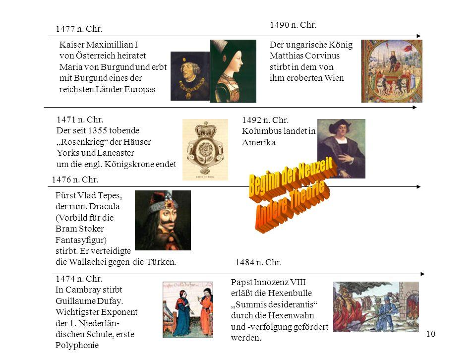 10 1476 n. Chr. Fürst Vlad Tepes, der rum. Dracula (Vorbild für die Bram Stoker Fantasyfigur) stirbt. Er verteidigte die Wallachei gegen die Türken. 1