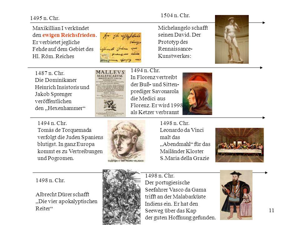 11 1504 n. Chr. Michelangelo schafft seinen David. Der Prototyp des Rennaissance- Kunstwerkes: 1487 n. Chr. Die Dominikaner Heinrich Insistoris und Ja