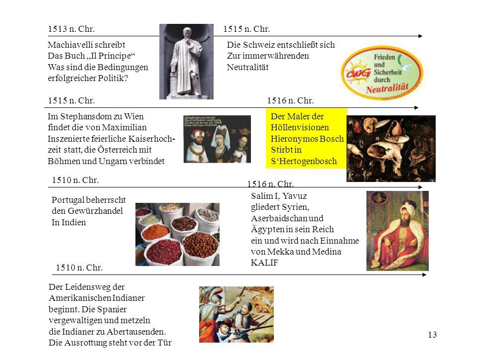 13 1510 n. Chr. Portugal beherrscht den Gewürzhandel In Indien 1510 n. Chr. Der Leidensweg der Amerikanischen Indianer beginnt. Die Spanier vergewalti