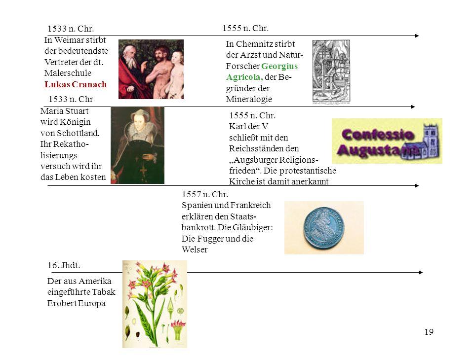19 1533 n. Chr Maria Stuart wird Königin von Schottland. Ihr Rekatho- lisierungs versuch wird ihr das Leben kosten 1533 n. Chr. In Weimar stirbt der b