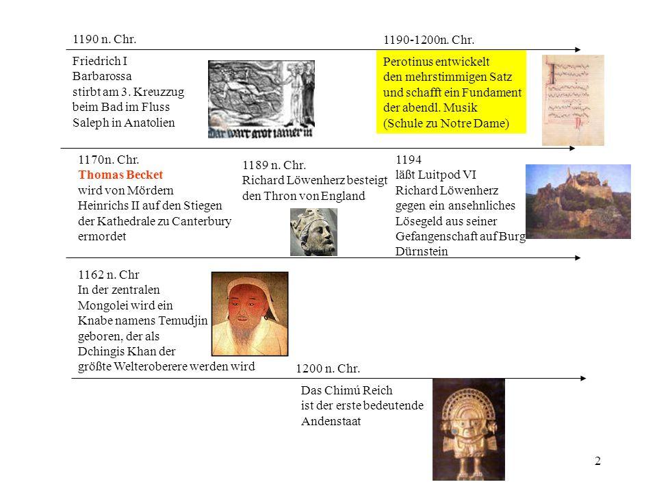 2 1190 n. Chr. Friedrich I Barbarossa stirbt am 3. Kreuzzug beim Bad im Fluss Saleph in Anatolien 1189 n. Chr. Richard Löwenherz besteigt den Thron vo