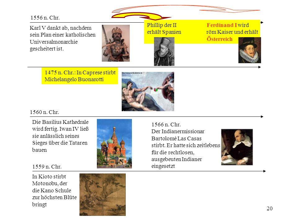 20 1556 n. Chr. Karl V dankt ab, nachdem sein Plan einer katholischen Universalmonarchie gescheitert ist. Phillip der IIFerdinand I wird erhält Spanie