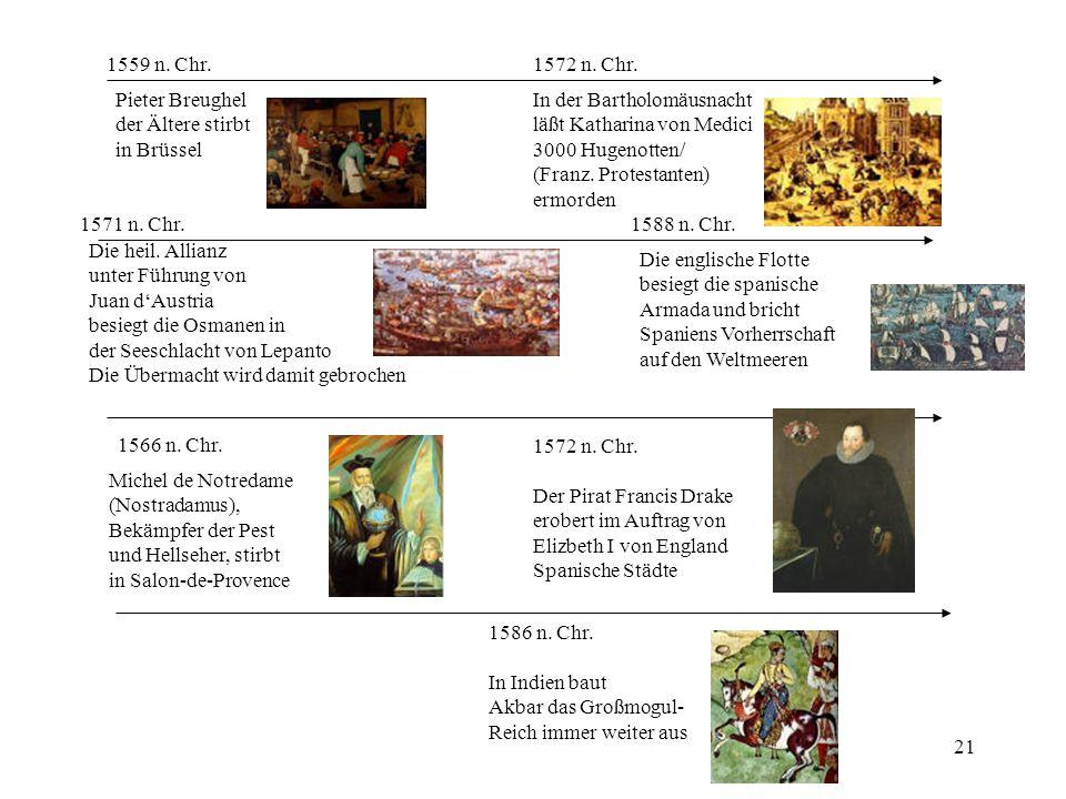 21 1566 n. Chr. Michel de Notredame (Nostradamus), Bekämpfer der Pest und Hellseher, stirbt in Salon-de-Provence 1559 n. Chr. Pieter Breughel der Älte