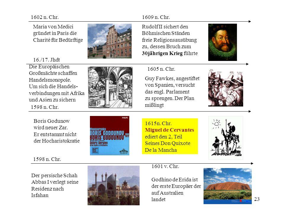 23 1598 n. Chr. Boris Godunow wird neuer Zar. Er entstammt nicht der Hocharistokratie 1598 n. Chr. Der persische Schah Abbas I verlegt seine Residenz