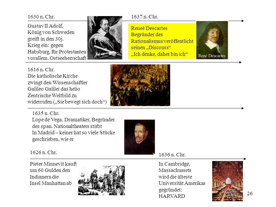 26 1626 n. Chr. Pieter Minnevit kauft um 60 Gulden den Indianern die Insel Manhattan ab 1630 n. Chr. Gustav II Adolf, König von Schweden greift in den