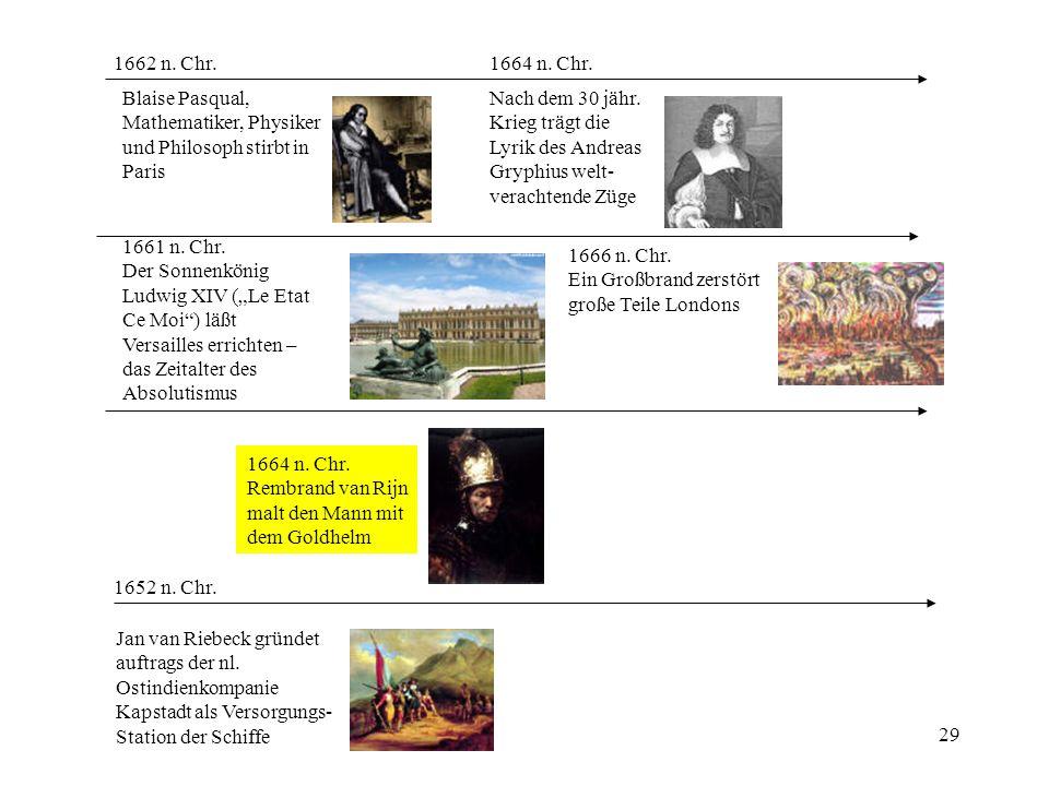 29 1652 n. Chr. Jan van Riebeck gründet auftrags der nl. Ostindienkompanie Kapstadt als Versorgungs- Station der Schiffe 1662 n. Chr. Blaise Pasqual,