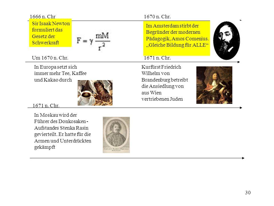 30 1666 n. Chr Sir Isaak Newton formuliert das Gesetz der Schwerkraft 1670 n. Chr. Im Amsterdam stirbt der Begründer der modernen Pädagogik, Amos Come