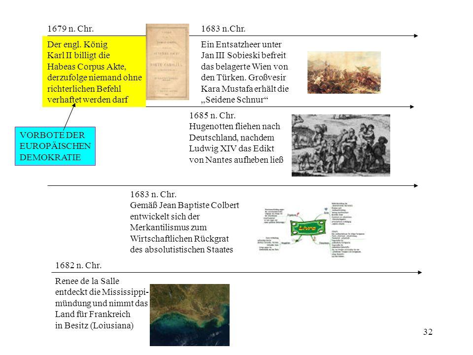 32 1679 n. Chr. Der engl. König Karl II billigt die Habeas Corpus Akte, derzufolge niemand ohne richterlichen Befehl verhaftet werden darf 1682 n. Chr