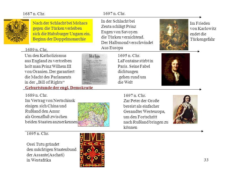 33 1697 n. Chr. In der Schlacht bei Zenta schlägt Prinz Eugen von Savoyen die Türken vernichtend. Der Halbmond verschwindet Aus Europa 1689 n. Chr, Um