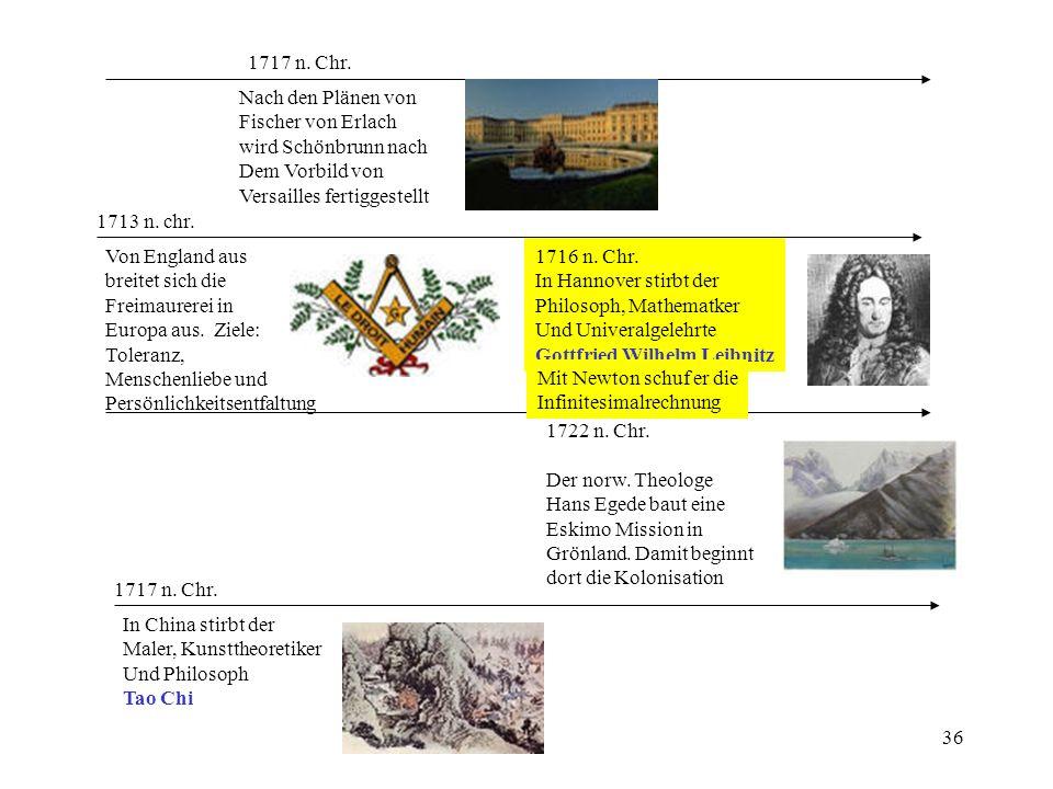 36 1713 n. chr. Von England aus breitet sich die Freimaurerei in Europa aus. Ziele: Toleranz, Menschenliebe und Persönlichkeitsentfaltung 1717 n. Chr.