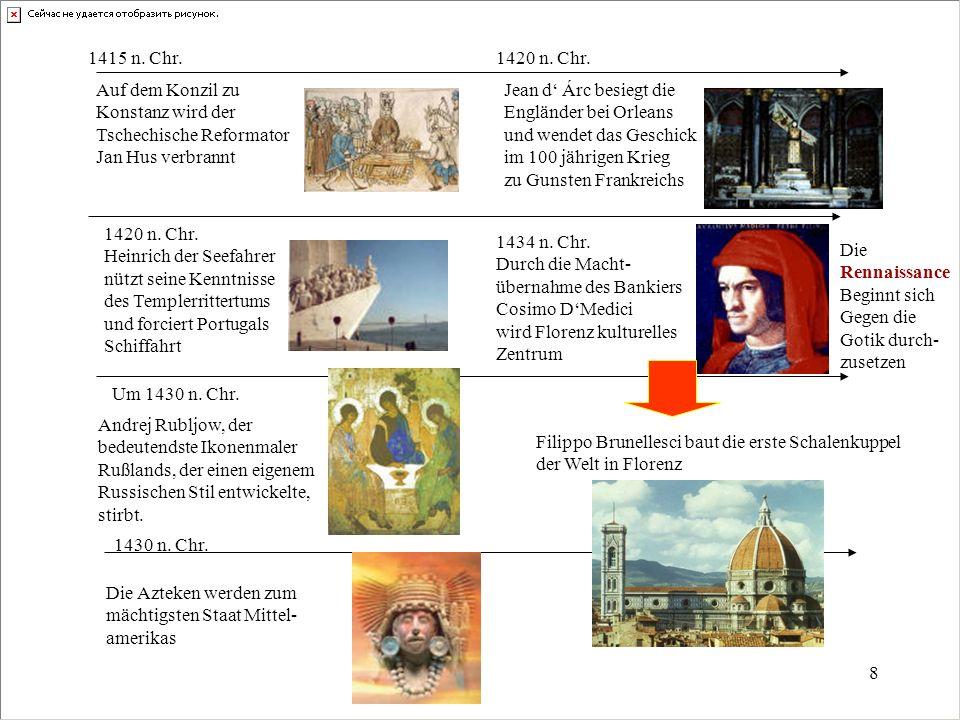 8 1415 n. Chr. Auf dem Konzil zu Konstanz wird der Tschechische Reformator Jan Hus verbrannt 1420 n. Chr. Heinrich der Seefahrer nützt seine Kenntniss