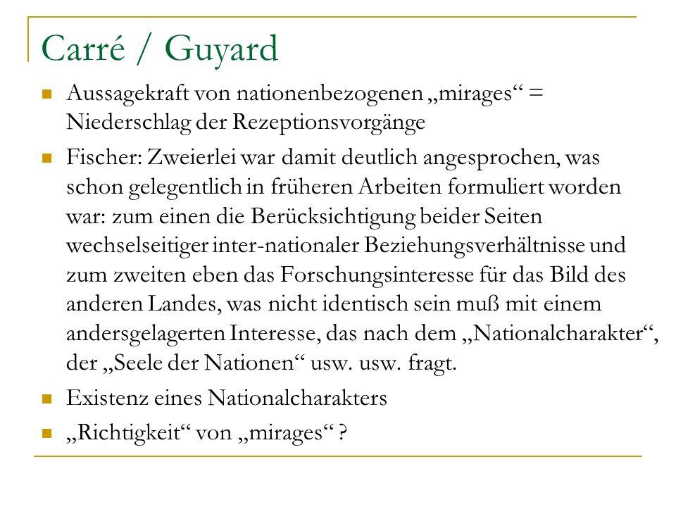 Carré / Guyard Aussagekraft von nationenbezogenen mirages = Niederschlag der Rezeptionsvorgänge Fischer: Zweierlei war damit deutlich angesprochen, wa